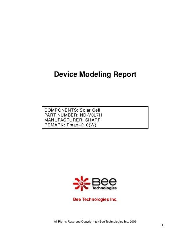 Device Modeling ReportCOMPONENTS: Solar CellPART NUMBER: ND-V0L7HMANUFACTURER: SHARPREMARK: Pmax=210(W)                Bee...