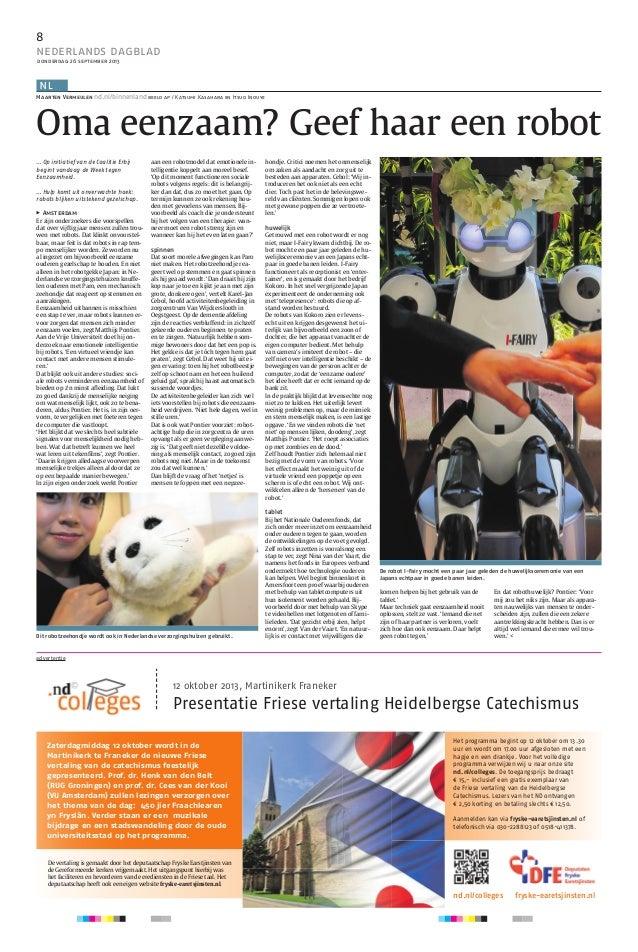 8 nederlands dagblad donderdag 26 september 2013 eptember 2013 donderdag 26 september 2013 donderdag 26 september 2013 ned...