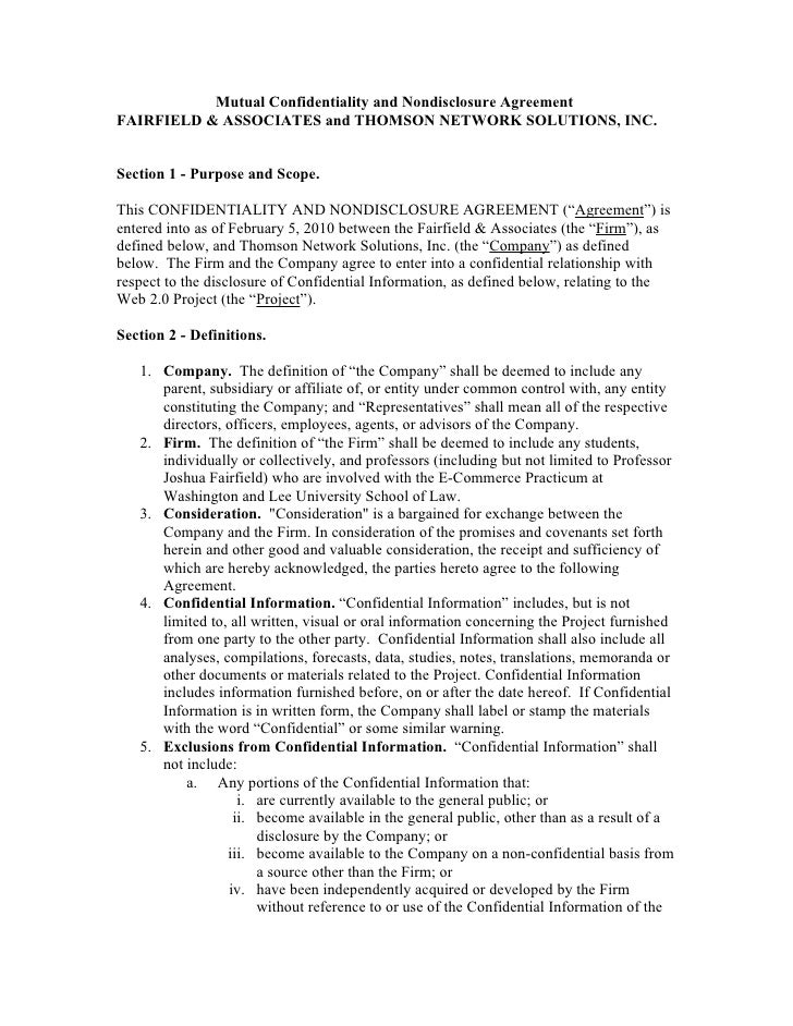 Mutual Confidentiality and Nondisclosure Agreement FAIRFIELD & ASSOCIATES and THOMSON NETWORK SOLUTIONS, INC.   Section 1 ...
