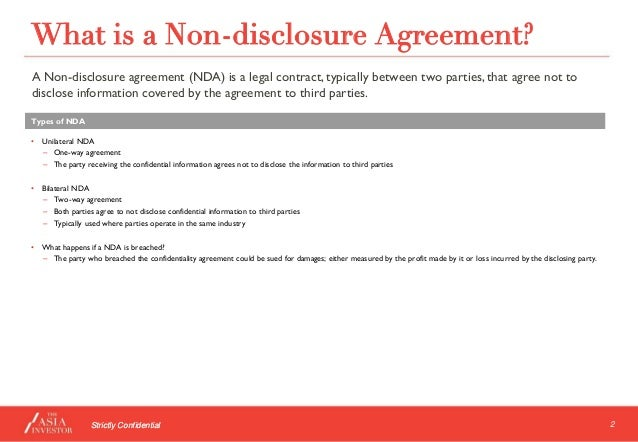 What To Look Out For In A Non-Disclosure Agreement By The Asia Invest…