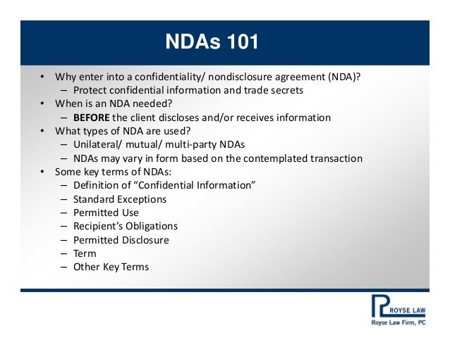 PAABA Business Law Section NDA Misssteps And Surprises - Boilerplate nda template