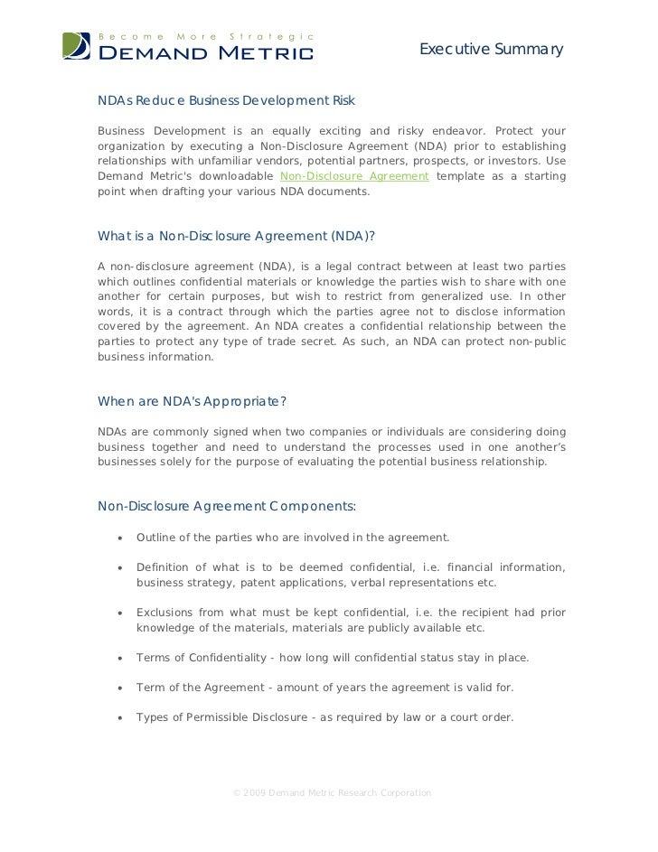 Ndas Reduce Business Development Risk