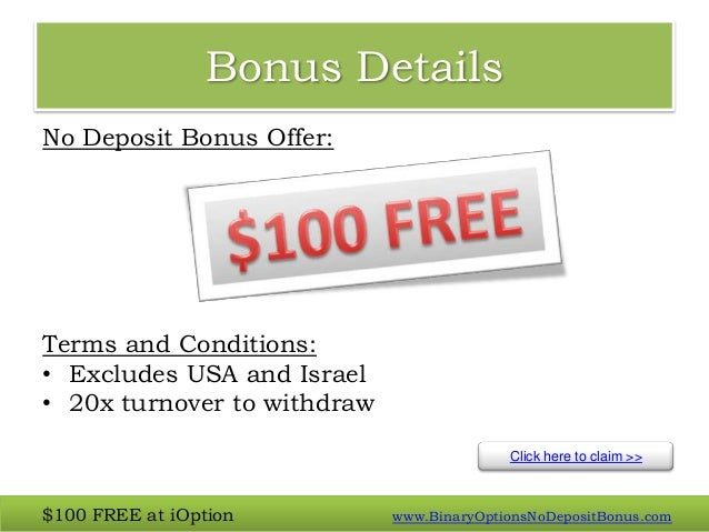 Binary option $100 deposit