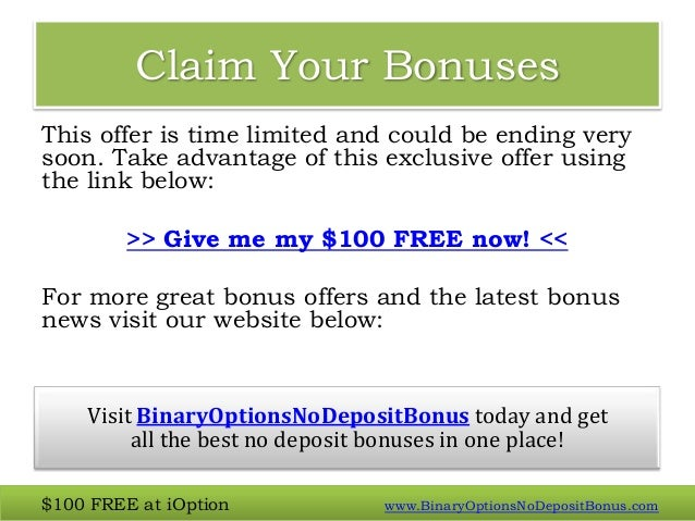 binary options no deposit bonus specials