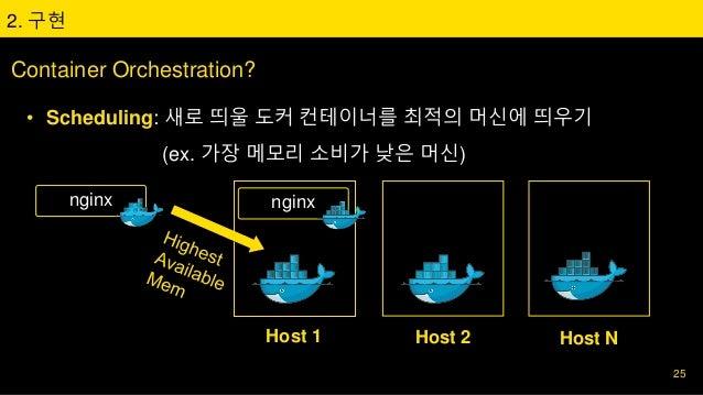 2. 구현 Container Orchestration? • Scheduling: 새로 띄울 도커 컨테이너를 최적의 머신에 띄우기 (ex. 가장 메모리 소비가 낮은 머신) 25 Host 1 Host 2 Host N ngi...