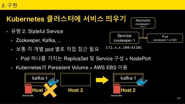 Kubernetes 클러스터에 서비스 띄우기 • 유형 2. Stateful Service • Zookeeper, Kafka, .. • 보통 각 개별 pod 별로 직접 접근 필요 • Pod 하나를 가지는 ReplicaSe...
