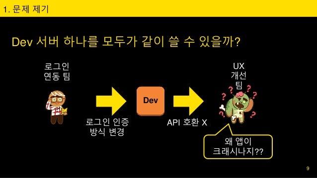 Dev 서버 하나를 모두가 같이 쓸 수 있을까? 1. 문제 제기 로그인 연동 팀 UX 개선 팀 로그인 인증 방식 변경 Dev API 호환 X 왜 앱이 크래시나지?? 9