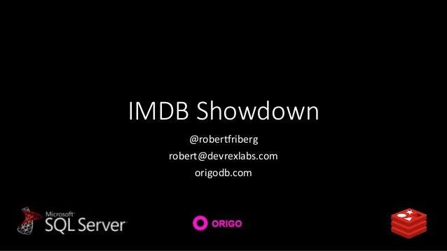 IMDB Showdown @robertfriberg robert@devrexlabs.com origodb.com