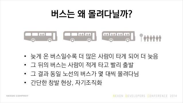 버스는 왜 몰려다닐까? • 늦게 온 버스일수록 더 많은 사람이 타게 되어 더 늦음 • 그 뒤의 버스는 사람이 적게 타고 빨리 출발 • 그 결과 동일 노선의 버스가 몇 대씩 몰려다님 • 간단한 창발 현상, 자기조직화
