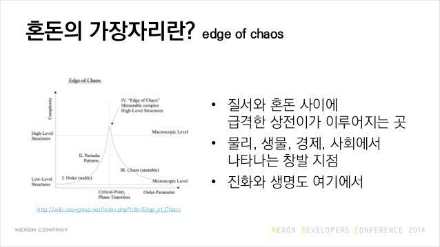 혼돈의 가장자리란? edge of chaos • 질서와 혼돈 사이에 급격한 상전이가 이루어지는 곳 • 물리, 생물, 경제, 사회에서 나타나는 창발 지점 • 진화와 생명도 여기에서 http://wiki.cas-group....