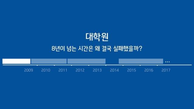 2009 2010 2011 2012 2013 2014 2015 2016 2017 … 대학원 8년이 넘는 시간은 왜 결국 실패했을까?