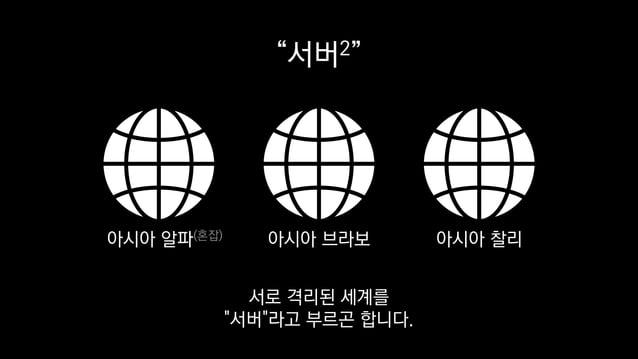 """""""서버2"""" 아시아 알파(혼잡) 아시아 브라보 아시아 찰리 서로 격리된 세계를 """"서버""""라고 부르곤 합니다."""