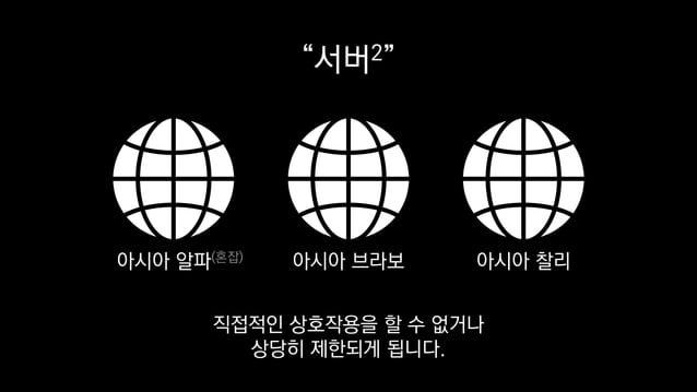 """""""서버2"""" 아시아 알파(혼잡) 아시아 브라보 아시아 찰리 직접적인 상호작용을 할 수 없거나 상당히 제한되게 됩니다."""