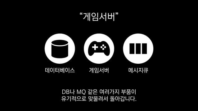 """""""게임서버"""" 게임서버데이터베이스 메시지큐 DB나 MQ 같은 여러가지 부품이 유기적으로 맞물려서 돌아갑니다."""