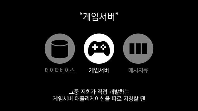 """""""게임서버"""" 게임서버데이터베이스 메시지큐 그중 저희가 직접 개발하는 게임서버 애플리케이션을 따로 지칭할 땐"""