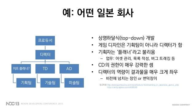 예: 어떤 일본 회사• 상명하달식(top-down) 개발• 게임 디자인은 기획팀이 아니라 디렉터가 함• 기획자는 '플래너'라고 불리움– 업무: 어셋 관리, 목록 작성, 버그 트래킹 등• CD의 권한이 매우 강력한 셈• ...