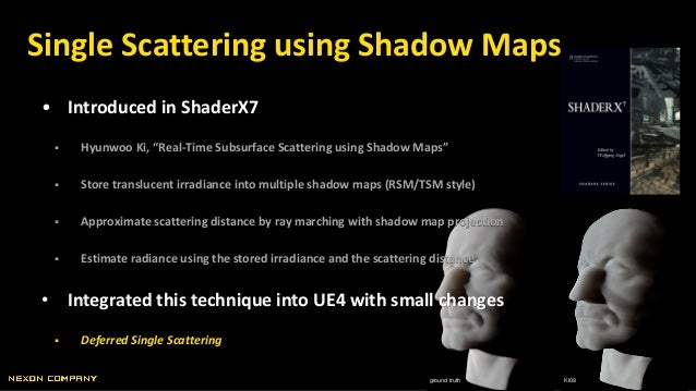 """ground truth Ki09 • Introduced in ShaderX7  Hyunwoo Ki, """"Real-Time Subsurface Scattering using Shadow Maps""""  Store trans..."""