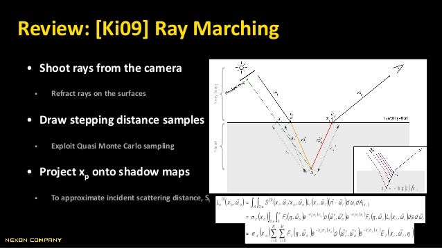 • Shoot rays from the camera  Refract rays on the surfaces • Draw stepping distance samples  Exploit Quasi Monte Carlo s...