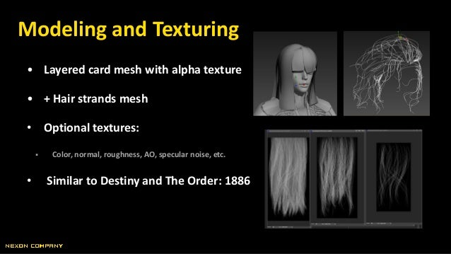 • Layered card mesh with alpha texture • + Hair strands mesh • Optional textures:  Color, normal, roughness, AO, specular...