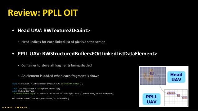• Head UAV: RWTexture2D<uint>  Head indices for each linked list of pixels on the screen • PPLL UAV: RWStructuredBuffer<F...