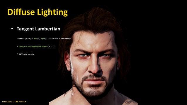 Diffuse Lighting • Tangent Lambertian DiffuseLighting = max(0, sqrt(1 – SinThetaI * SinTetaI)) * EnergeConservingWrappedDi...