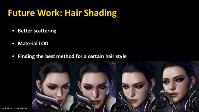 • Better scattering • Material LOD • Finding the best method for a certain hair style Future Work: Hair Shading