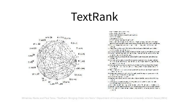 "TextRank Mihalcea, Rada, and Paul Tarau. ""TextRank: Bringing Order into Texts."" Department of Computer Science, University..."