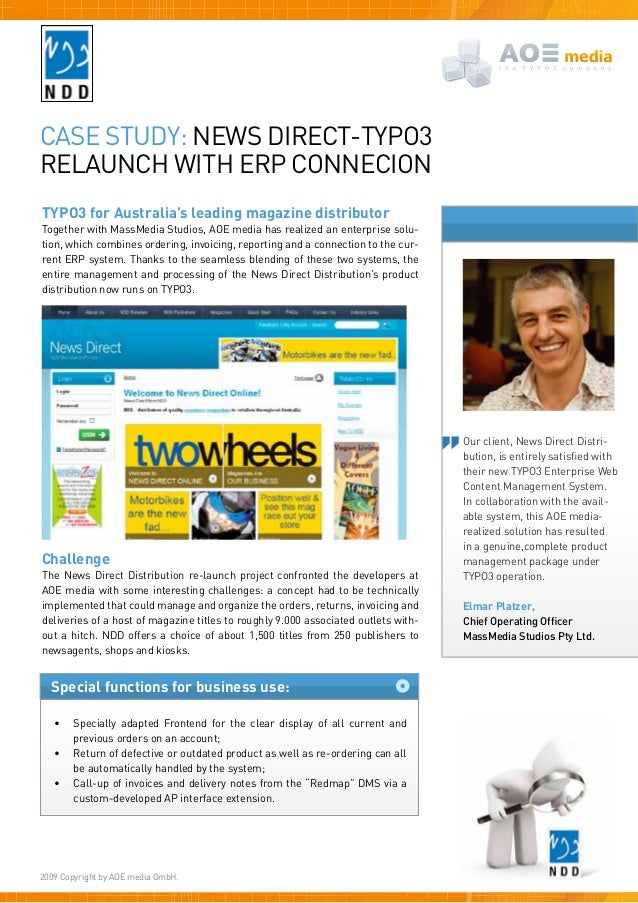 Special functions for business use:Case study: News Direct-TYPO3Relaunch with ERP ConnecionTYPO3 for Australia's leading m...