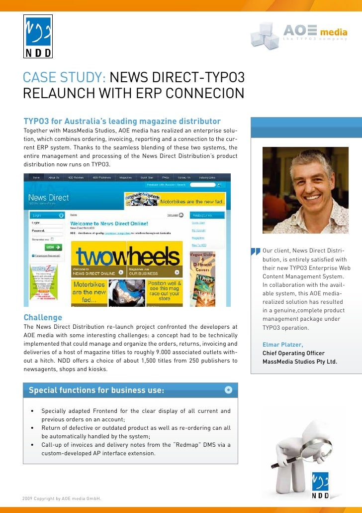 Case study: News direCt-tyPO3 relauNCh with erP CONNeCiON TYPO3 for Australia's leading magazine distributor together with...