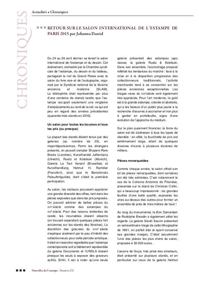 Nouvelles de l'estampe Numéro 251 CHRONIQUES Actualités • Chroniques RETOUR SUR LE SALON INTERNATIONAL DE L'ESTAMPE DE PAR...