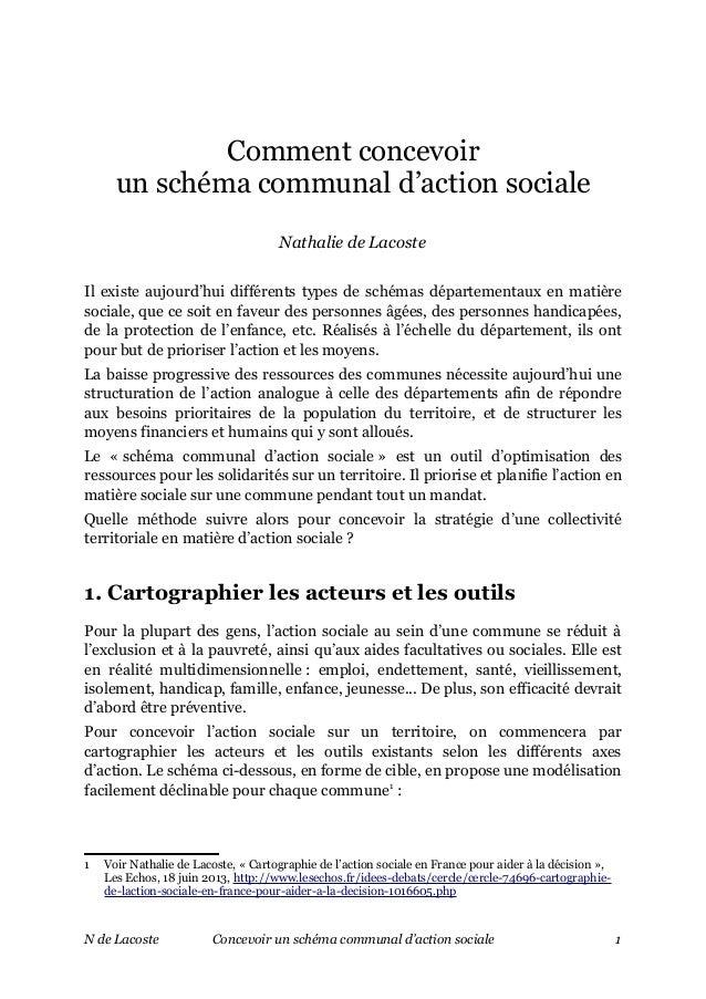 Comment concevoir un schéma communal d'action sociale Nathalie de Lacoste Il existe aujourd'hui différents types de schéma...