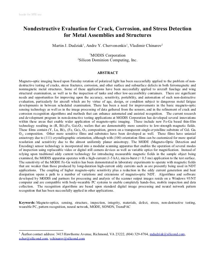 header for SPIE use    Nondestructive Evaluation for Crack, Corrosion, and Stress Detection                    for Metal A...