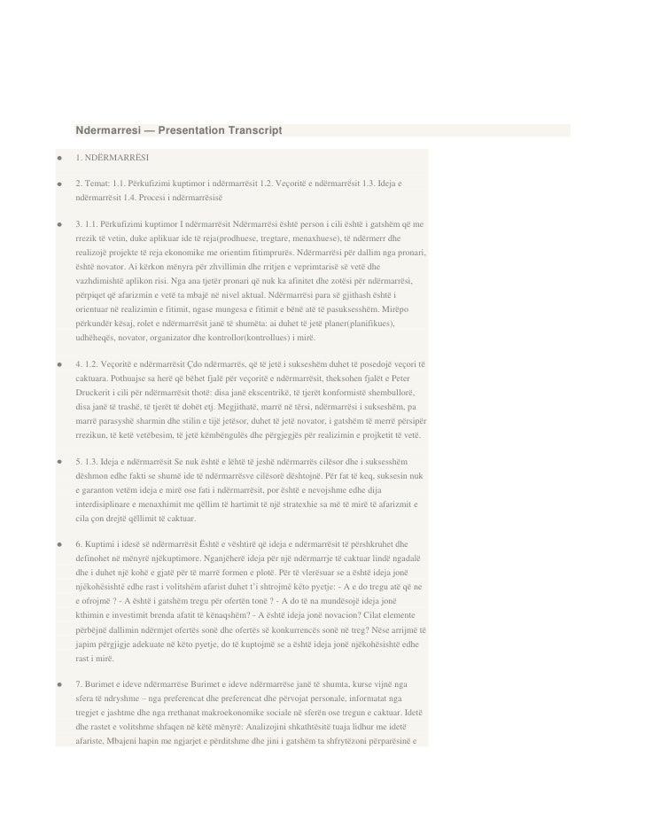 Ndermarresi — Presentation Transcript1. NDËRMARRËSI2. Temat: 1.1. Përkufizimi kuptimor i ndërmarrësit 1.2. Veçoritë e ndër...