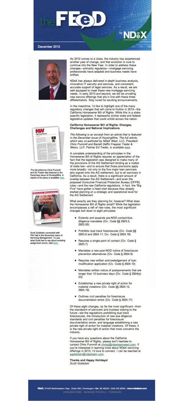 The FEED 4Q2012: a quarterly e-newsletter