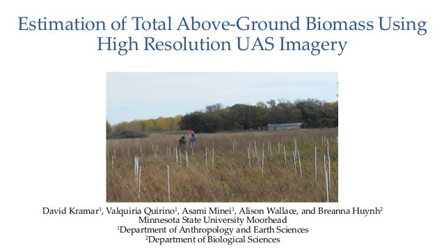 Estimation of Total Above-Ground Biomass Using High Resolution UAS Imagery David Kramar1, Valquiria Quirino1, Asami Minei1...