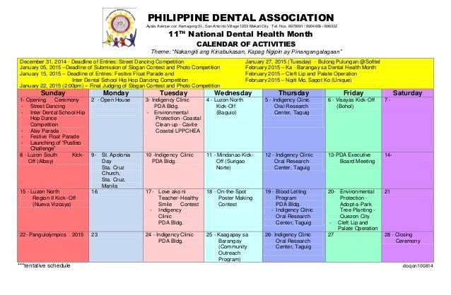National Dental Health Month Calendar PHILIPPINE DENTAL ASSOCIATION Ayala Avenue Cor Kamagong St San Antonio Village 1203 Makati