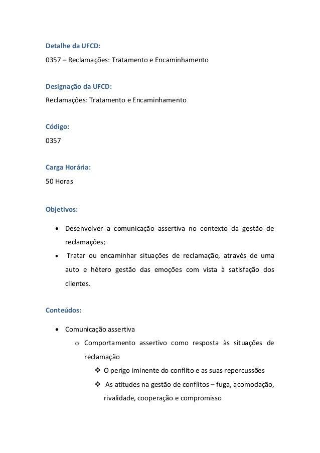 UFCD - 0357 - Reclamações: Tratamento e Encaminhamento Slide 2
