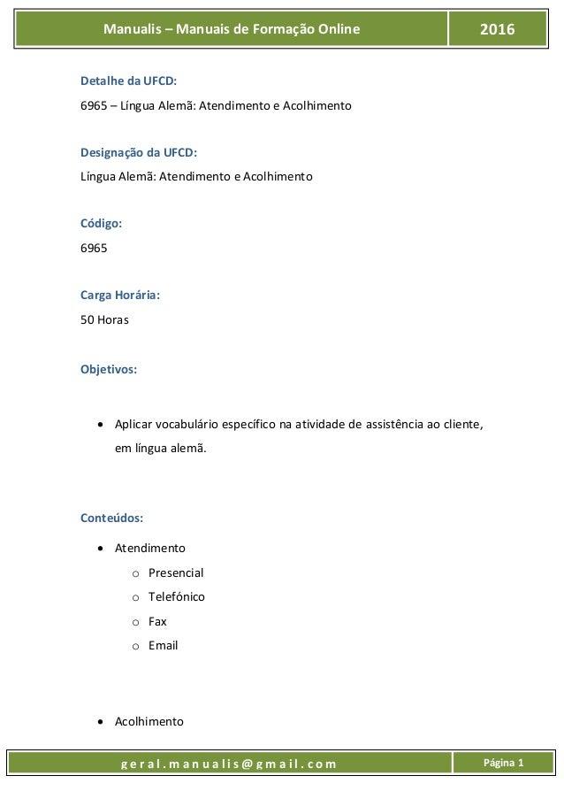 UFCD - 6965 - Língua Alemã: Atendimento e Acolhimento Slide 2