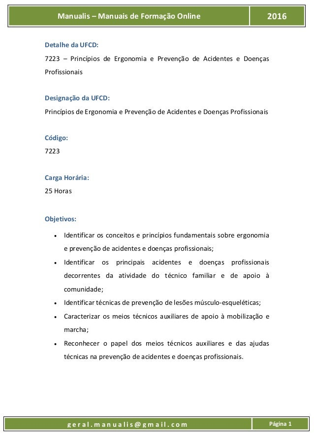 UFCD - 7223 - Princípios de Ergonomia e Prevenção de Acidentes e Doenças Profissionais Slide 2