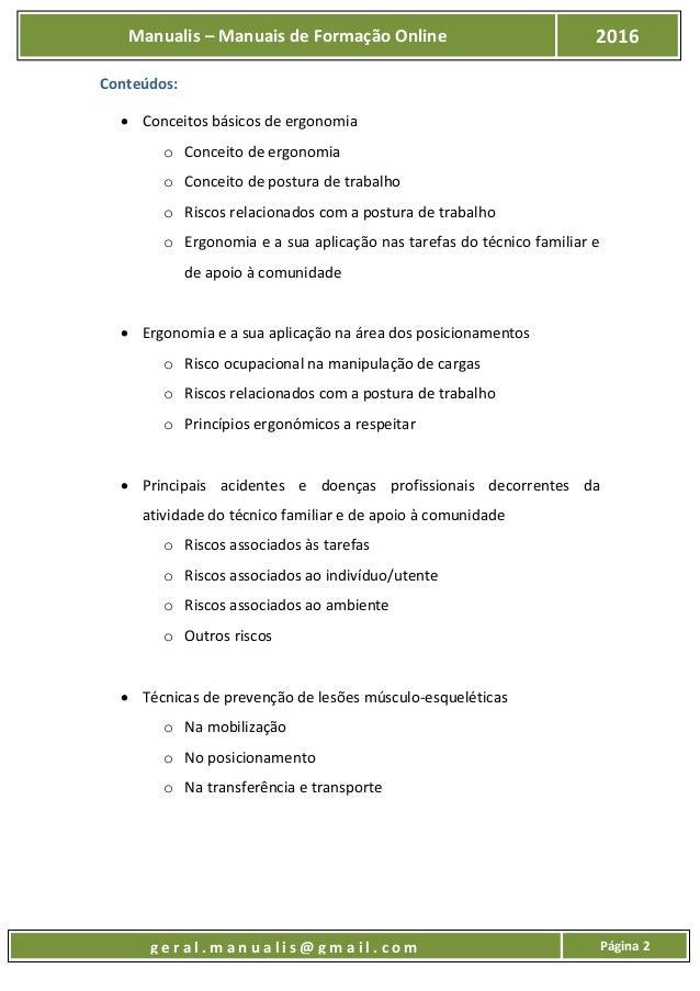 UFCD - 7223 - Princípios de Ergonomia e Prevenção de Acidentes e Doenças Profissionais Slide 3