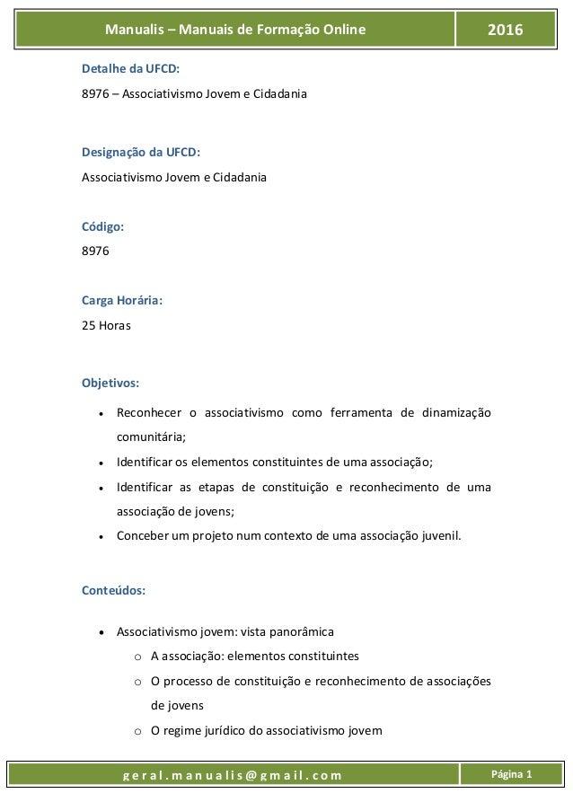 UFCD - 8976 - ASSOCIATIVISMO JOVEM E CIDADANIA Slide 2