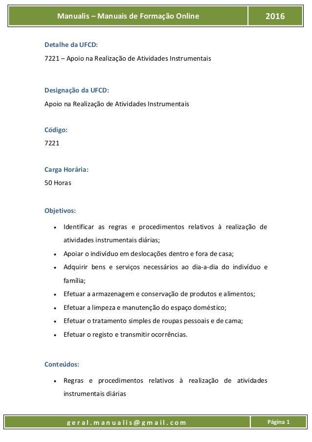 UFCD - 7221 - Apoio na Realização de Atividades Instrumentais Slide 2
