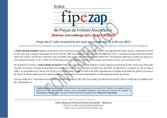 Índice FipeZap de Preços de Imóveis Anunciados – Maio/2013http://www.fipe.org.br/web/indices/fipezaphttp:// www.zap.com.br...