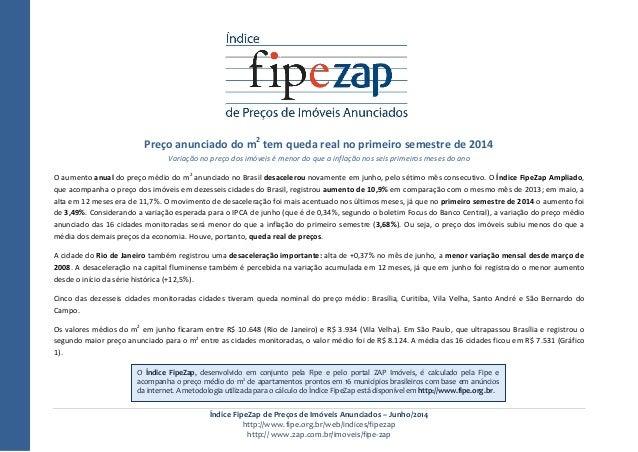 Índice FipeZap de Preços de Imóveis Anunciados – Junho/2014 http://www.fipe.org.br/web/indices/fipezap http:// www.zap.com...