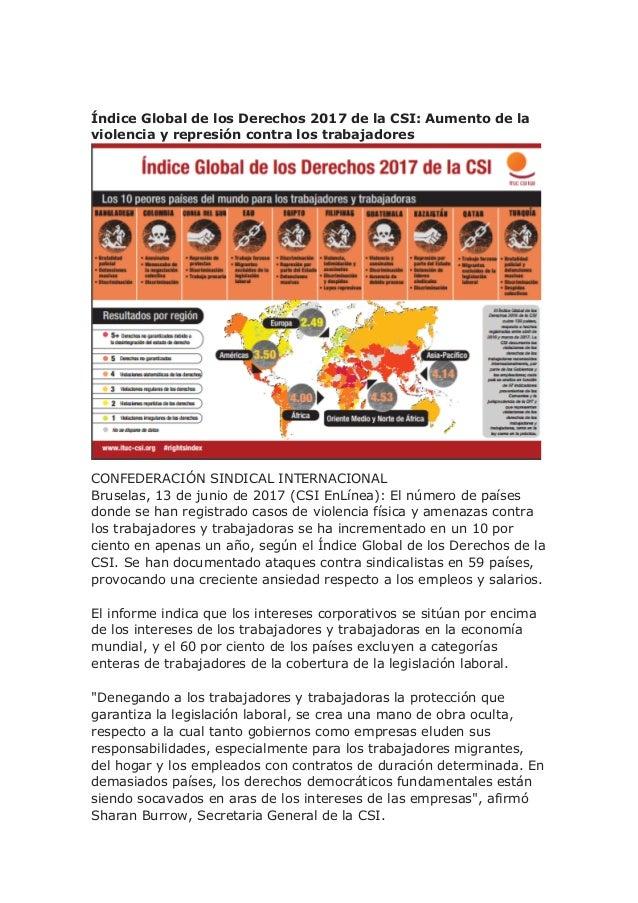 Índice Global de los Derechos 2017 de la CSI: Aumento de la violencia y represión contra los trabajadores CONFEDERACIÓN SI...