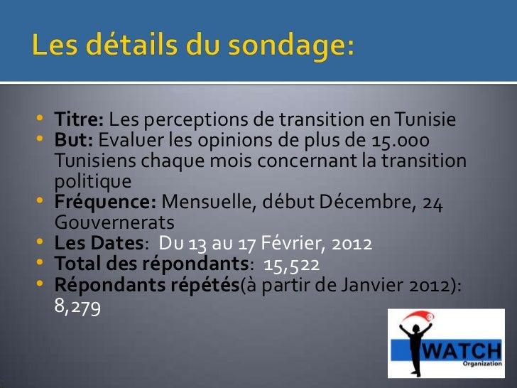 Les Tunisiens et leur vision de la transition démocratique Slide 2