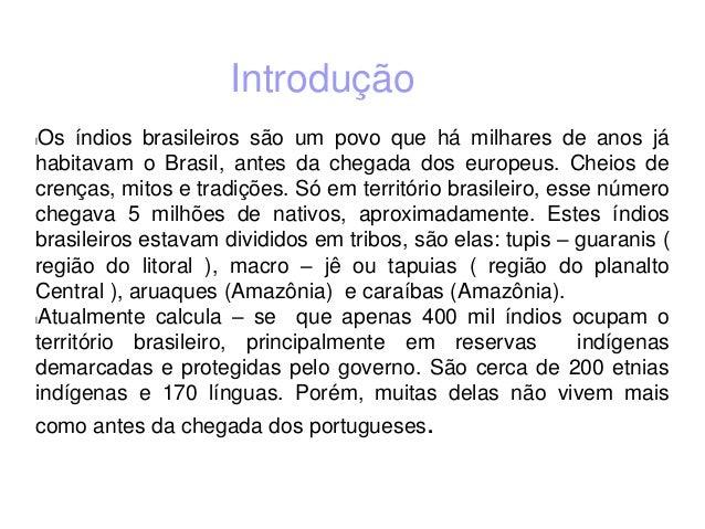 Introdução lOs índios brasileiros são um povo que há milhares de anos já habitavam o Brasil, antes da chegada dos europeus...