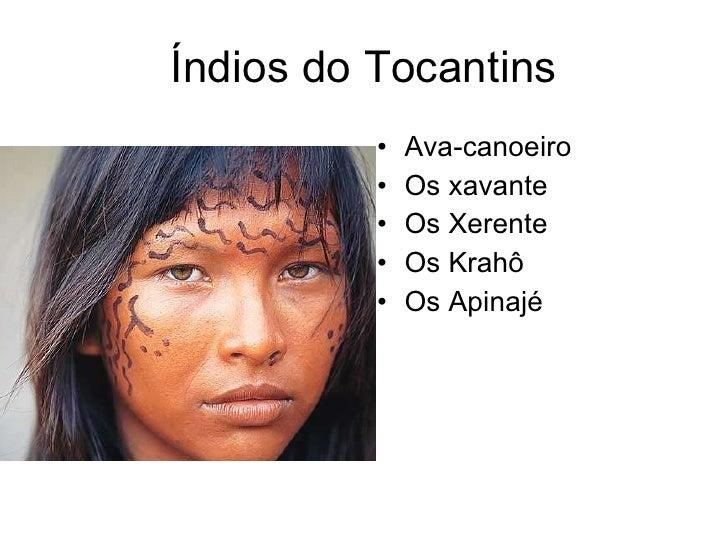 Índios do Tocantins <ul><li>Ava-canoeiro </li></ul><ul><li>Os xavante </li></ul><ul><li>Os Xerente </li></ul><ul><li>Os Kr...