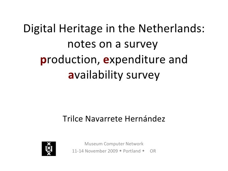 Digital Heritage in the Netherlands: notes on a survey  p roduction,  e xpenditure and  a vailability survey Trilce Navarr...