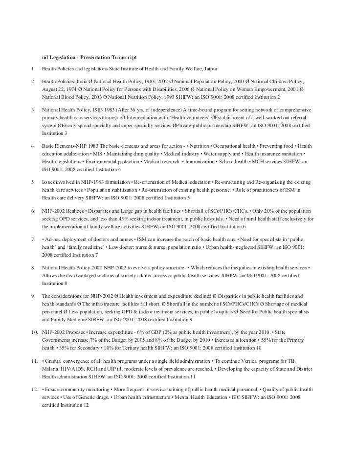 nd Legislation - Presentation Transcript<br />Health Policies and legislations State Institute of Health and Family Welfar...